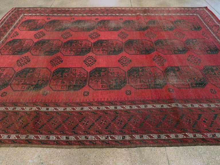 Distressed Mid-20th Century Tribal Tekke Room Size Carpet in Red and Black For Sale 2