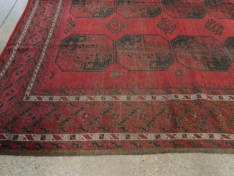 Distressed Mid-20th Century Tribal Tekke Room Size Carpet in Red and Black For Sale 3