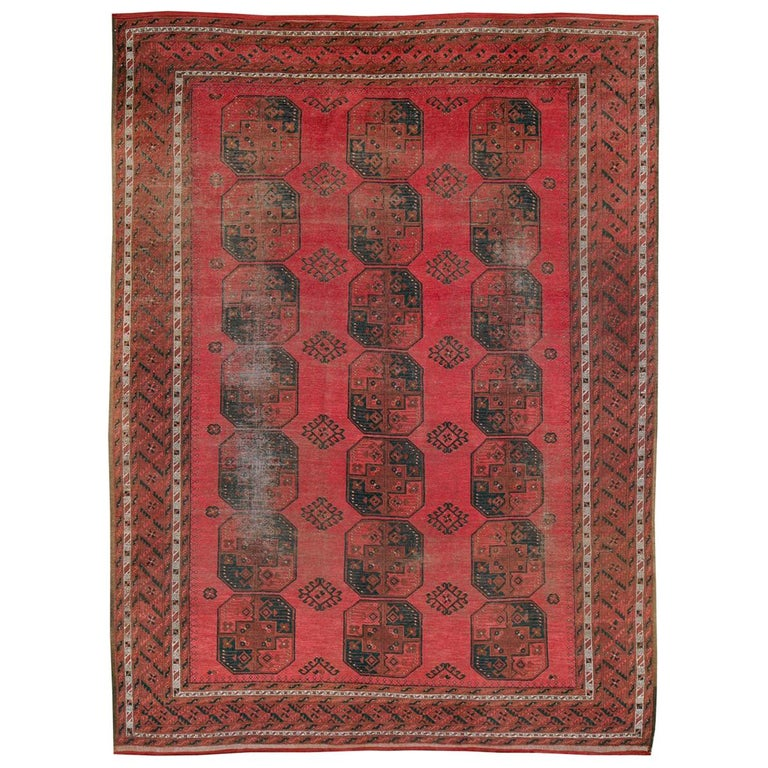 Distressed Mid-20th Century Tribal Tekke Room Size Carpet in Red and Black For Sale