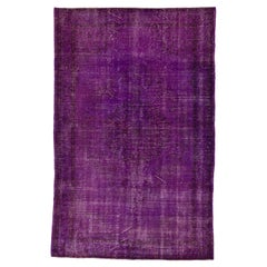 6.5x10 Ft Distressed Mid-Century Handmade Anatolian Area Rug Over-Dyed in Purple