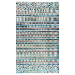 Distressed Mid-20th Century Handmade Turkish Accent Rug in Teal and Turquoise