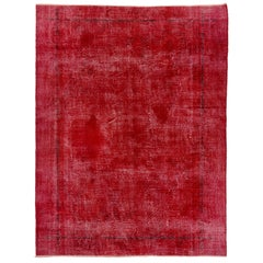 9x12 Ft Solid Red Color Vintage Turkish Rug. Wool Carpet for Modern Interiors
