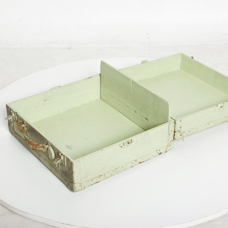 Distressed Military Light Green Wood Ammo Box + Leather Handle Carry Case 1940s For Sale 4