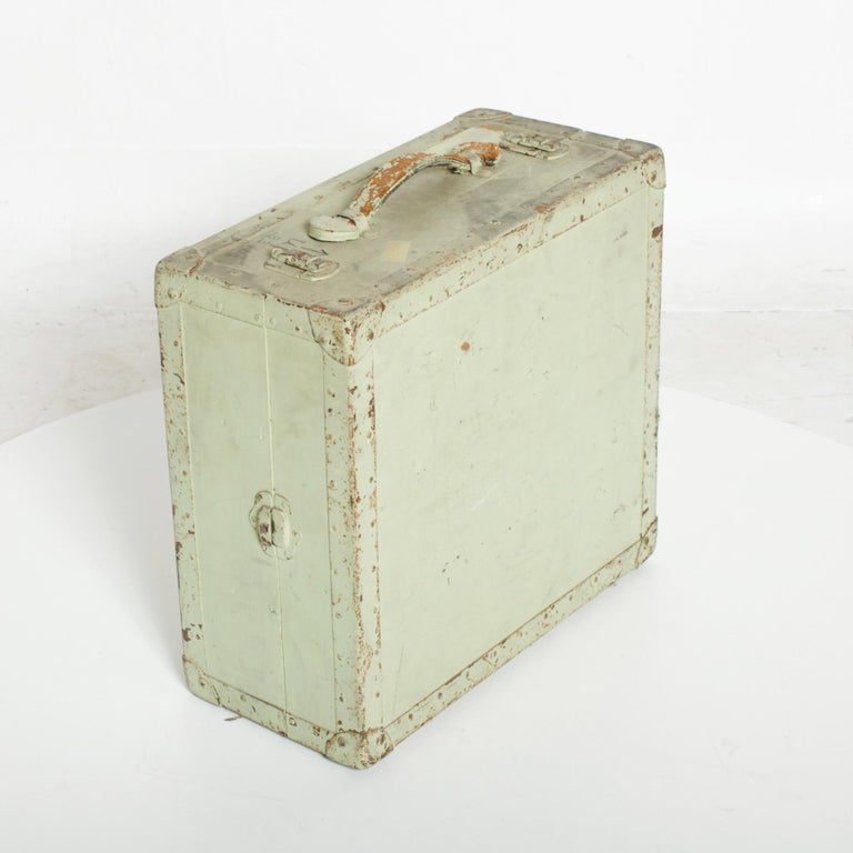 American Distressed Military Light Green Wood Ammo Box + Leather Handle Carry Case 1940s For Sale
