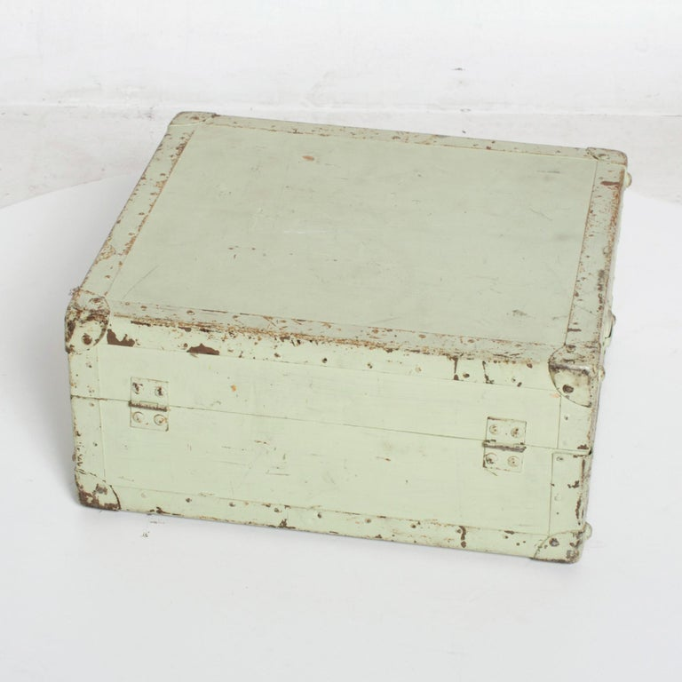 Distressed Military Light Green Wood Ammo Box + Leather Handle Carry Case 1940s In Distressed Condition For Sale In National City, CA