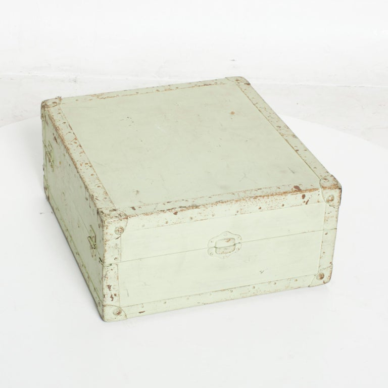 Mid-20th Century Distressed Military Light Green Wood Ammo Box + Leather Handle Carry Case 1940s For Sale