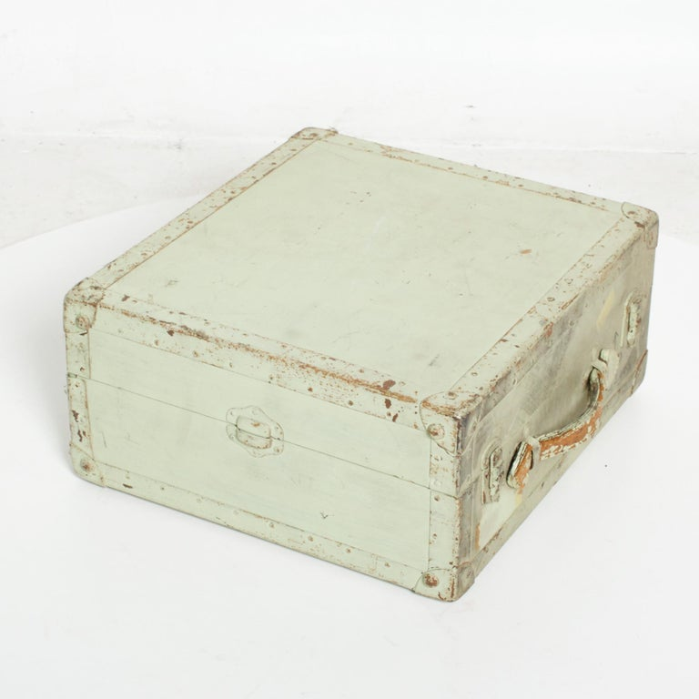 Distressed Military Light Green Wood Ammo Box + Leather Handle Carry Case 1940s For Sale 1