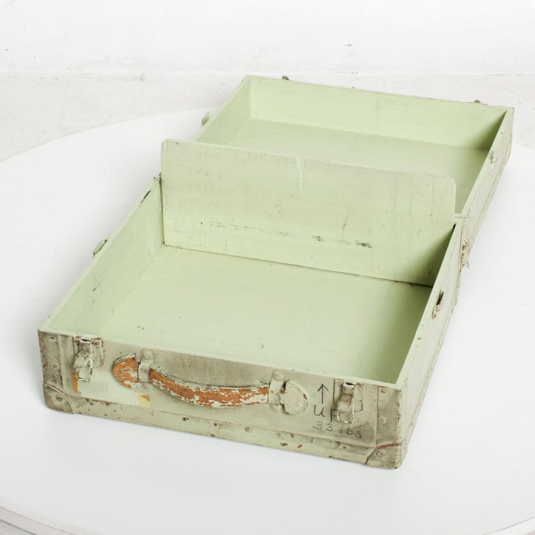 Distressed Military Light Green Wood Ammo Box + Leather Handle Carry Case 1940s For Sale 3