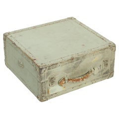 Distressed Military Light Green Wood Ammo Box + Leather Handle Carry Case 1940s