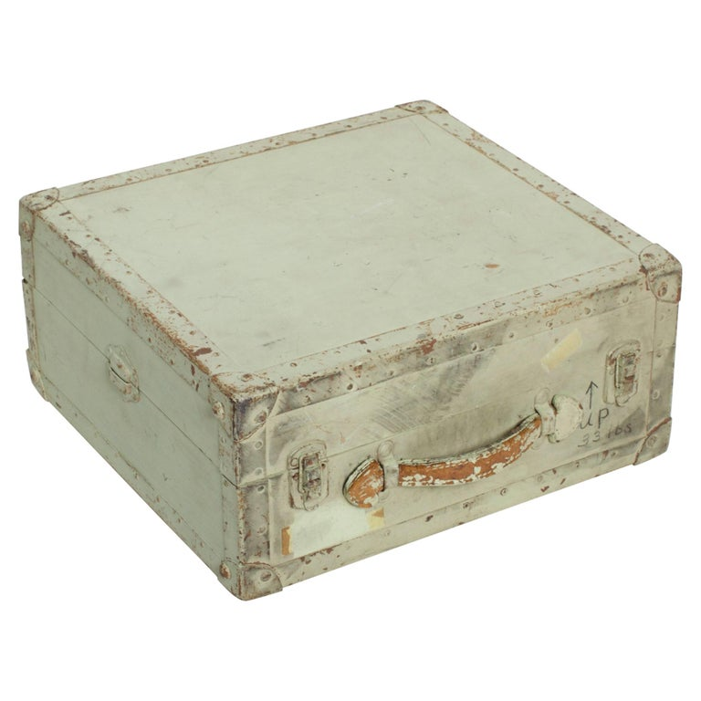 Distressed Military Light Green Wood Ammo Box + Leather Handle Carry Case 1940s For Sale