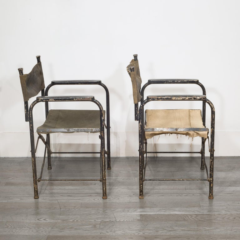 Distressed Miltary Folding Director S Chairs Circa 1940