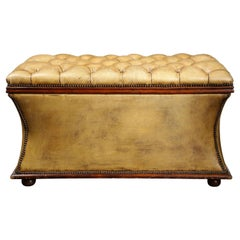 Distressed Olive Leather Flip Top Ottoman