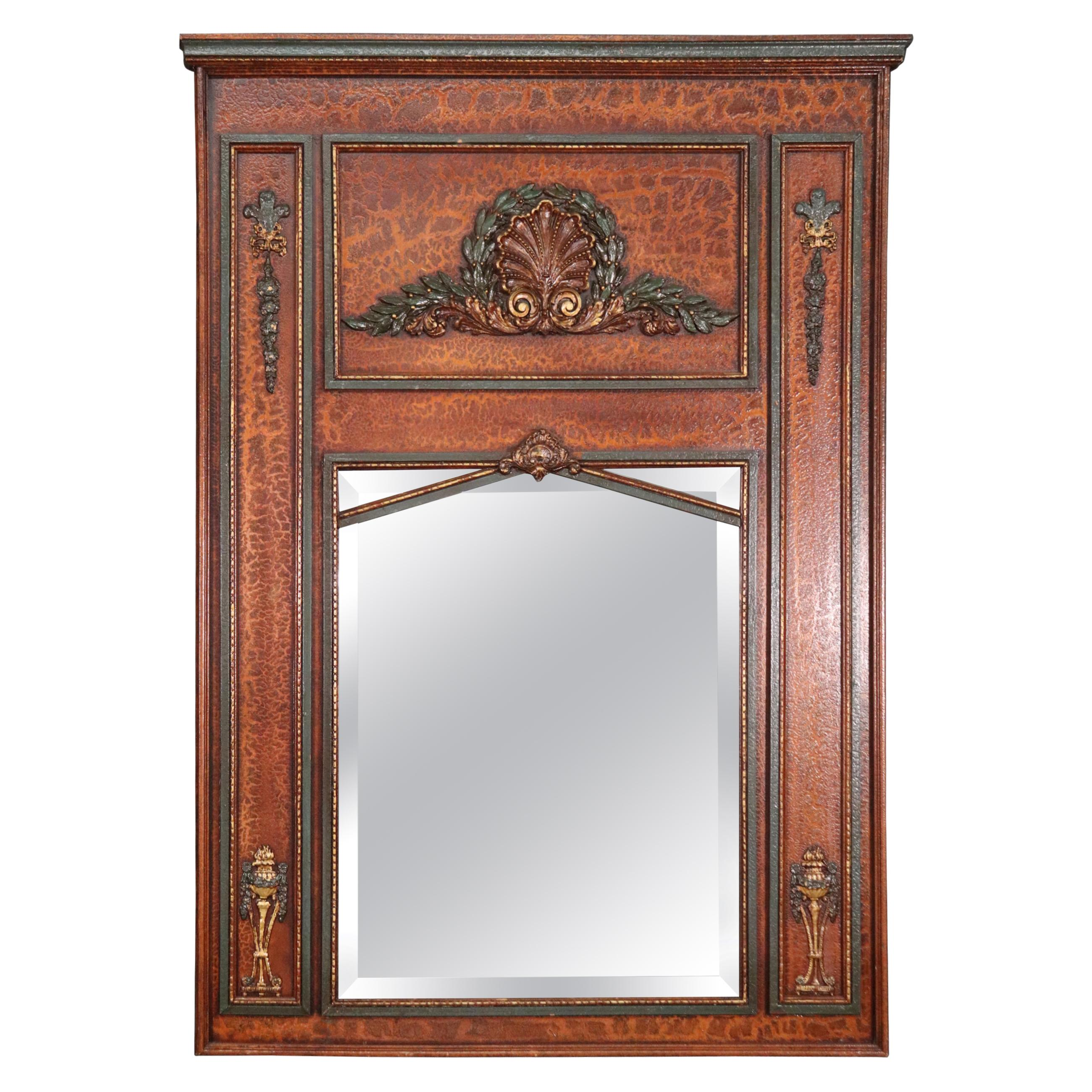 Distressed Paint Decorated French Beveled Glass Trumeau Mirror