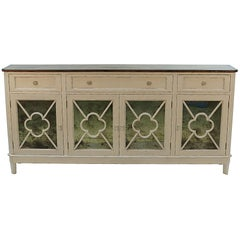 Distressed Painted Sideboard Buffet Credenza with Antiqued Mirrored Doors
