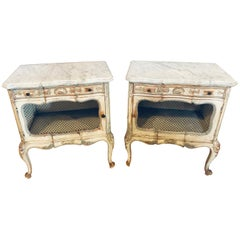Distressed Pair of Louis XV Style Marble Top End Tables Bed/Night Side Stand