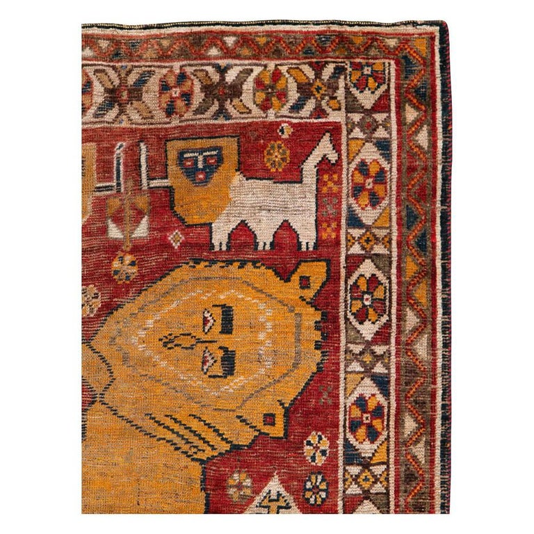 Hand-Knotted Distressed Persian Handmade Tribal Rug in Deep Red, Orange, and Ivory For Sale