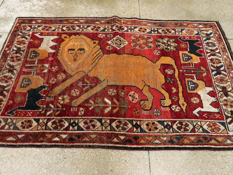 Distressed Persian Handmade Tribal Rug in Deep Red, Orange, and Ivory In Distressed Condition For Sale In New York, NY