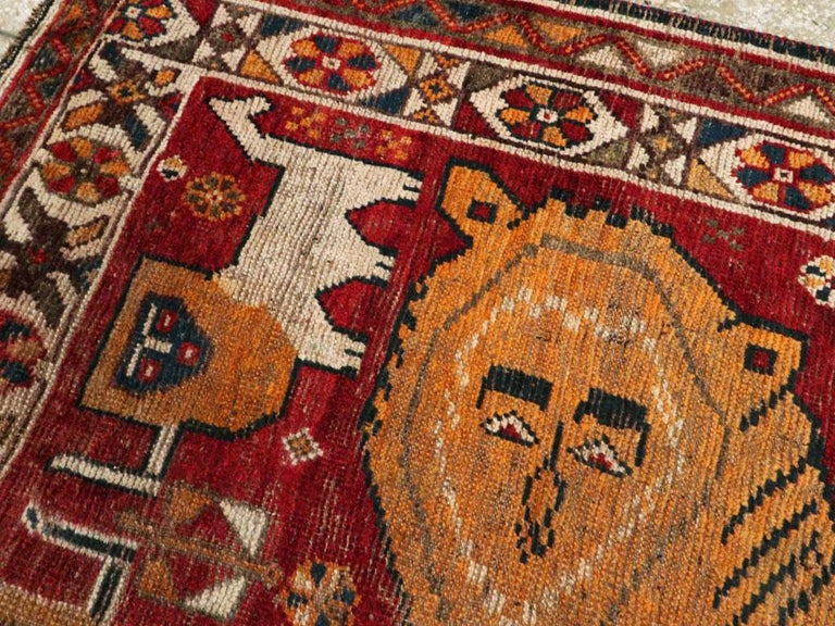 Wool Distressed Persian Handmade Tribal Rug in Deep Red, Orange, and Ivory For Sale