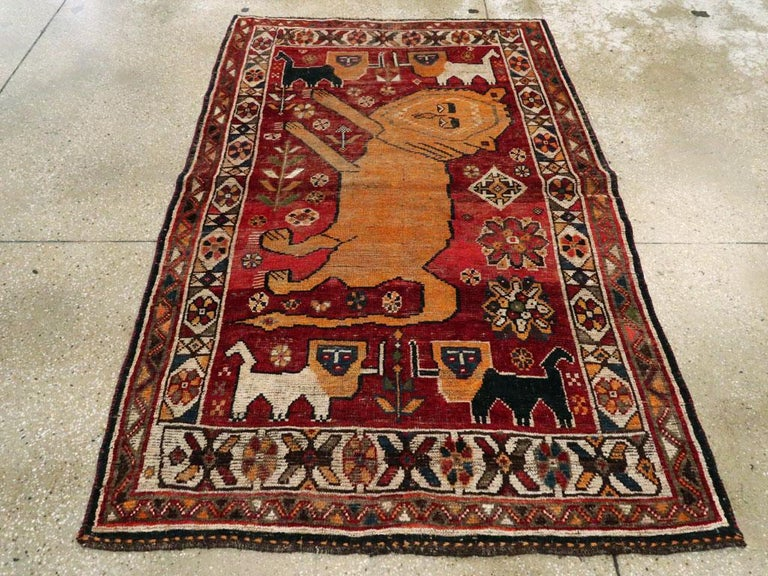 Distressed Persian Handmade Tribal Rug in Deep Red, Orange, and Ivory For Sale 1