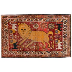 Distressed Persian Handmade Tribal Rug in Deep Red, Orange, and Ivory