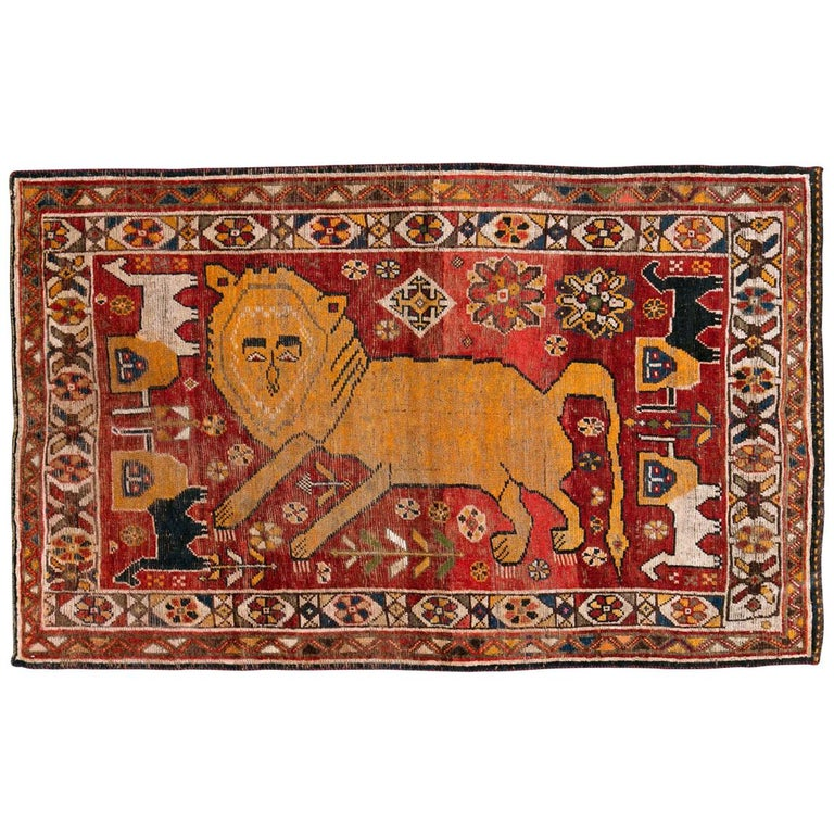 Distressed Persian Handmade Tribal Rug in Deep Red, Orange, and Ivory For Sale