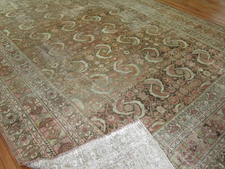 Hand-Woven Distressed Persian Malayer Rug For Sale