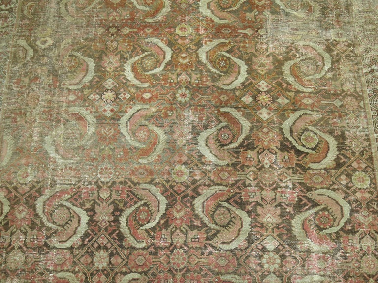 Distressed Persian Malayer Rug In Distressed Condition For Sale In New York, NY