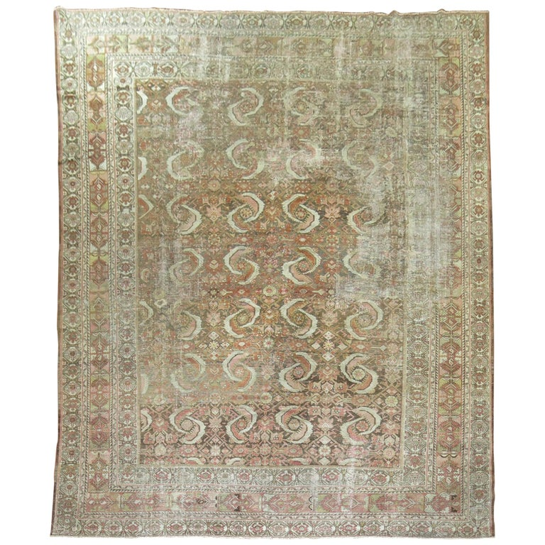Distressed Persian Malayer Rug For Sale