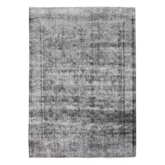 Distressed Persian Rug with a Modern Design in Gray and Blue