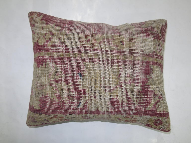 Distressed Pillow from a 19th Century Turkish Rug In Distressed Condition For Sale In New York, NY