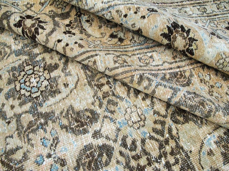 Distressed Room Size Handmade Persian Carpet in Charcoal Brown, Nude, and Blue For Sale 3