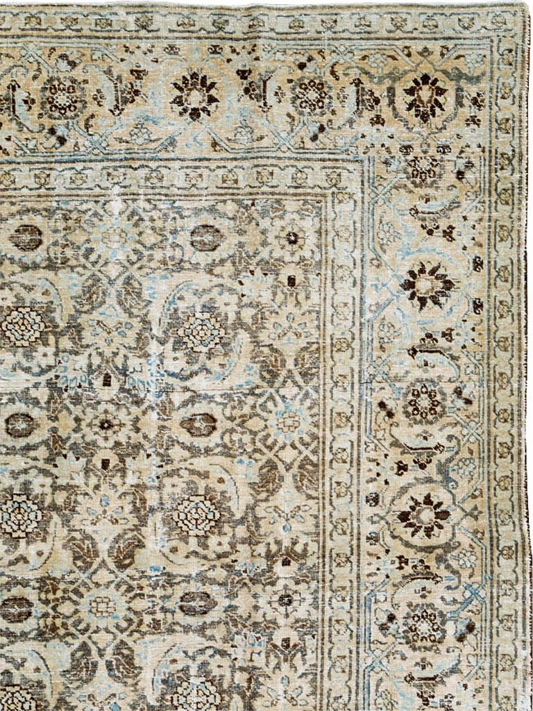Modern Distressed Room Size Handmade Persian Carpet in Charcoal Brown, Nude, and Blue For Sale