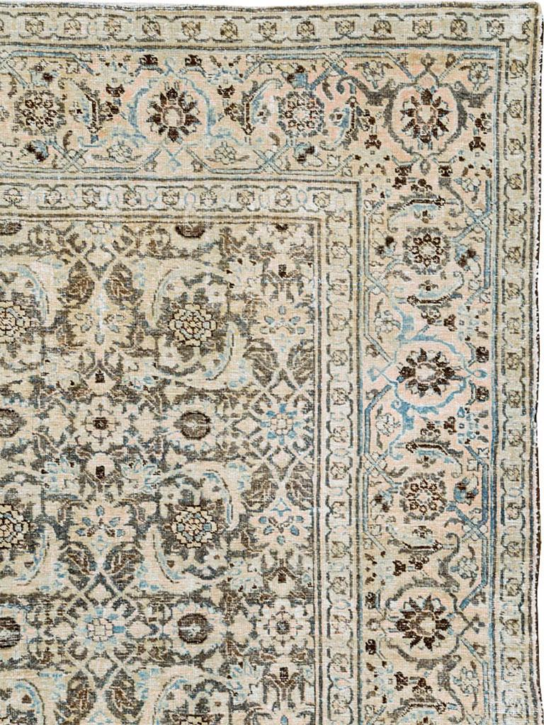 Hand-Knotted Distressed Room Size Handmade Persian Carpet in Charcoal Brown, Nude, and Blue For Sale