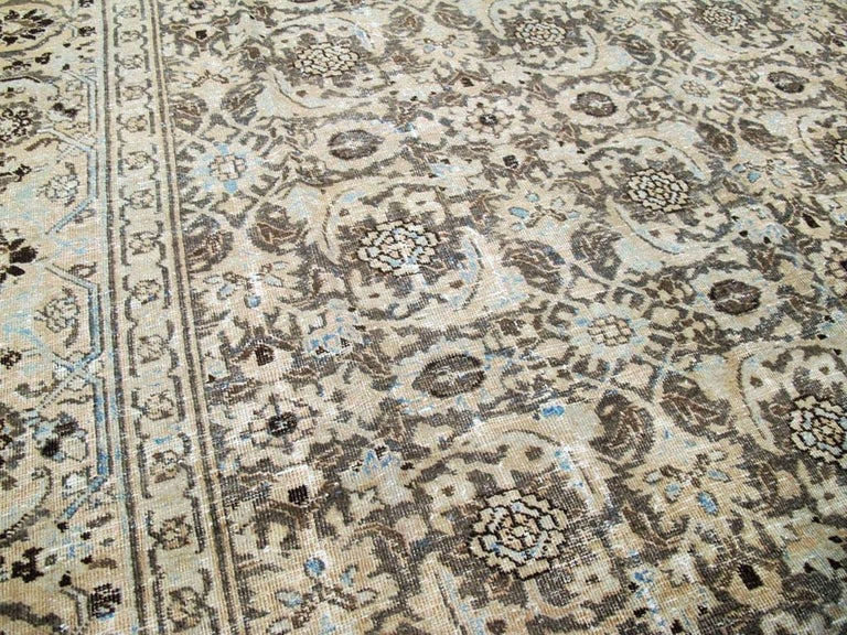 20th Century Distressed Room Size Handmade Persian Carpet in Charcoal Brown, Nude, and Blue For Sale