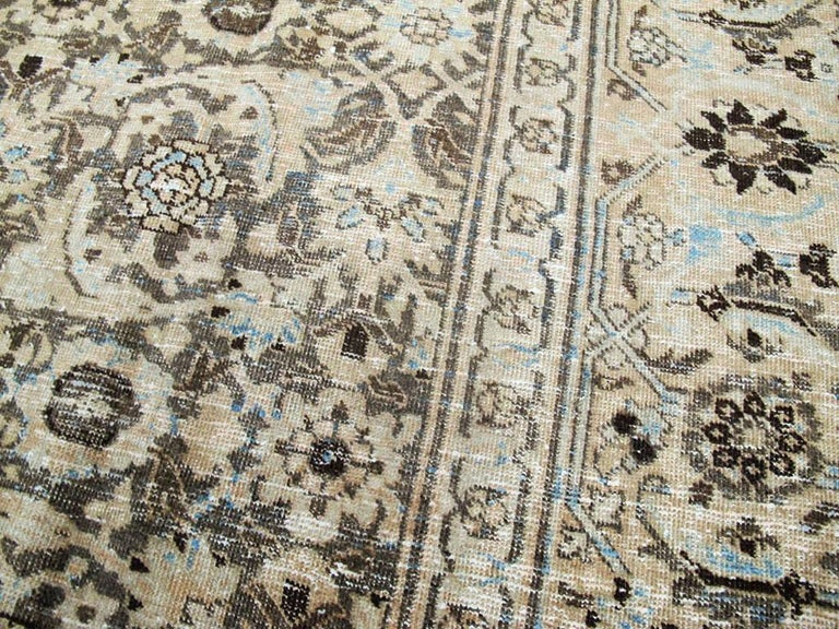 Wool Distressed Room Size Handmade Persian Carpet in Charcoal Brown, Nude, and Blue For Sale