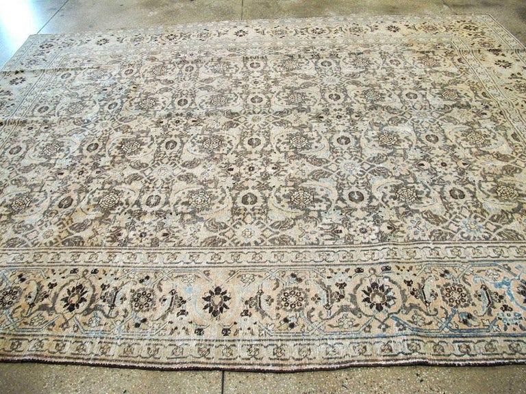 Distressed Room Size Handmade Persian Carpet in Charcoal Brown, Nude, and Blue For Sale 1