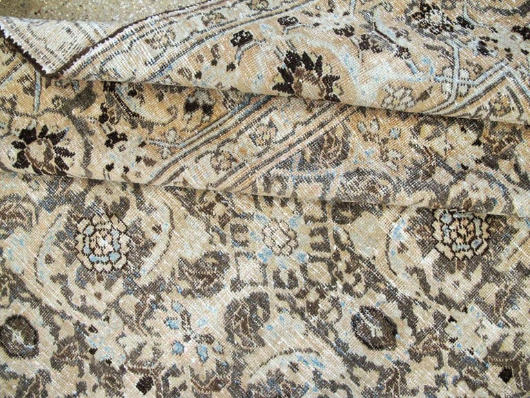 Distressed Room Size Handmade Persian Carpet in Charcoal Brown, Nude, and Blue For Sale 2