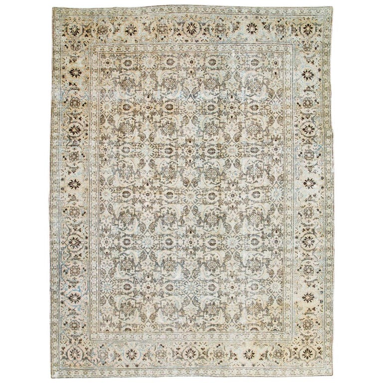 Distressed Room Size Handmade Persian Carpet in Charcoal Brown, Nude, and Blue For Sale