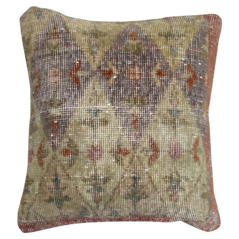 Distressed Rug Pillow For Sale