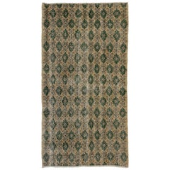 Zeki Muren Distressed Vintage Turkish Sivas Rug with Rustic Cottage Style