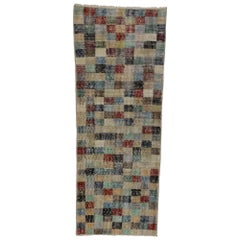Distressed Sivas Rug with Industrial Art Deco Style and Cubism Art Design