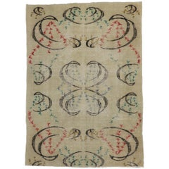 Distressed Sivas Rug with Industrial Art Deco Style