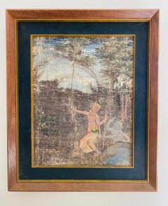Distressed Thai Painting of Temple Dancer and Buddhist Monkey God, c. 1950