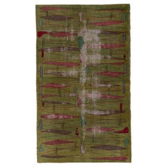 Distressed Turkish Art Deco Rug, Kelly Green Field