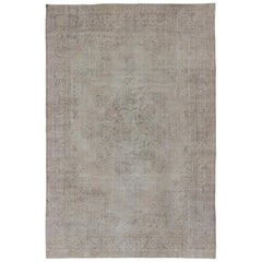 Distressed Turkish Carpet with Floral Design in Taupe, Gray, and Ivory