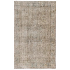 Distressed Turkish Carpet with Floral Design in Taupe, Gray, Brown and Cream