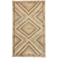 Distressed Turkish Flat-Weave Kilim Rug with Modern Southwestern Boho Chic Style