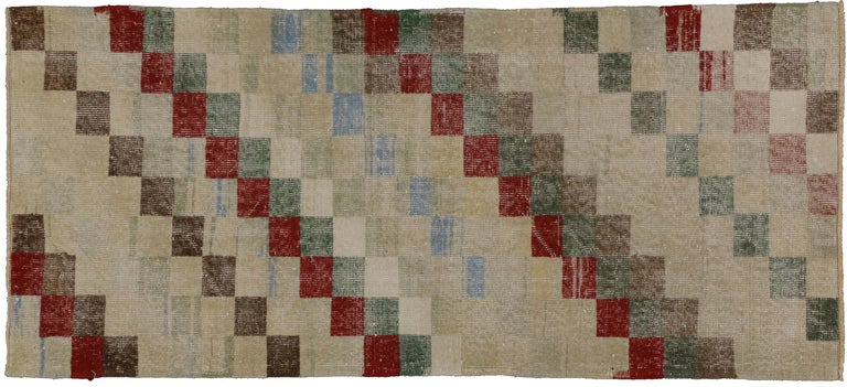 Zeki Muren Distressed Turkish Sivas Rug with Art Deco Cubism Style In Distressed Condition For Sale In Dallas, TX