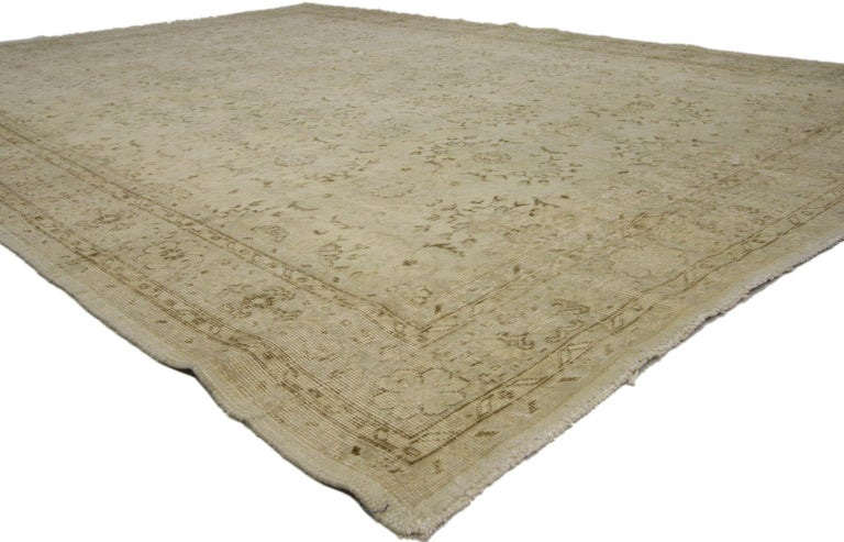 Hand-Knotted Distressed Turkish Sivas Rug with Shabby Chic Shaker-Gustavian Farmhouse Style For Sale