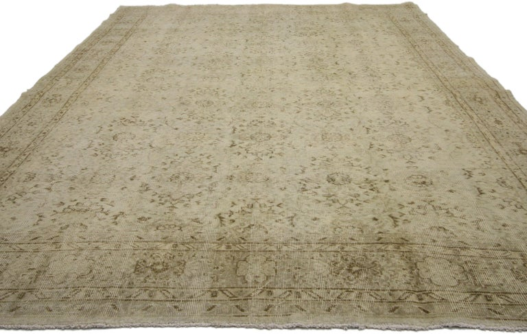 Distressed Turkish Sivas Rug with Shabby Chic Shaker-Gustavian Farmhouse Style In Distressed Condition For Sale In Dallas, TX